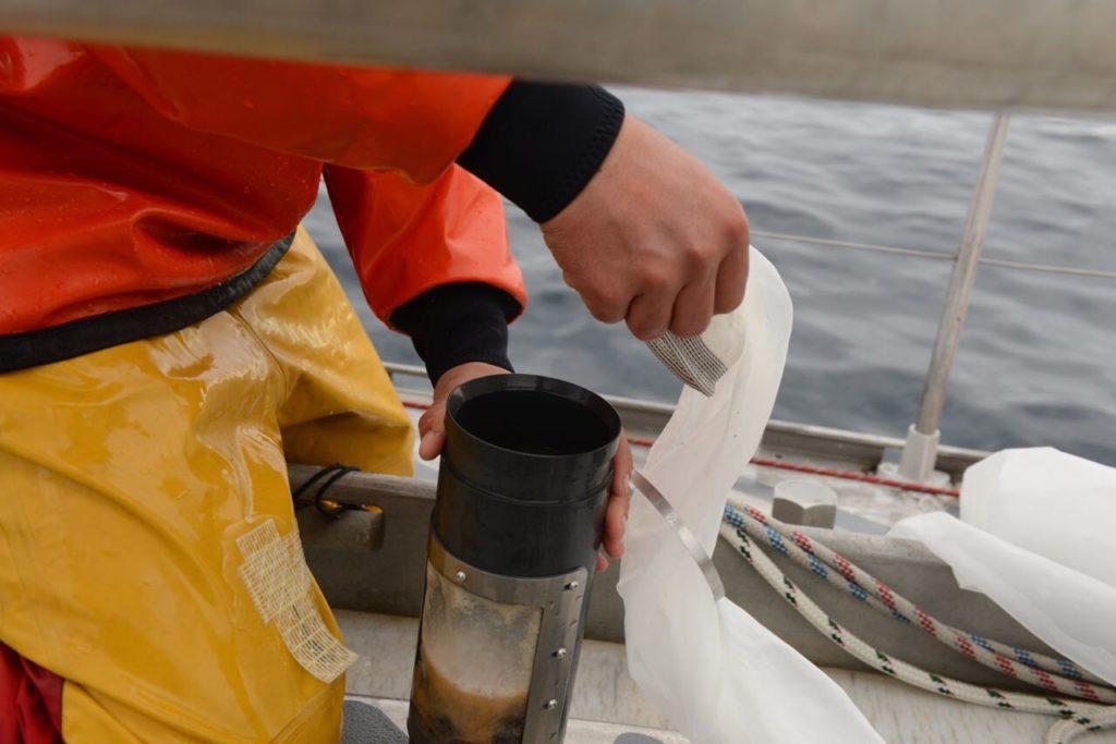 Récupération du filtrat et tamisage de la soupe planctonique/microplastique